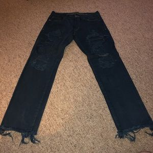 American Eagle distressed frayed jeans flex
